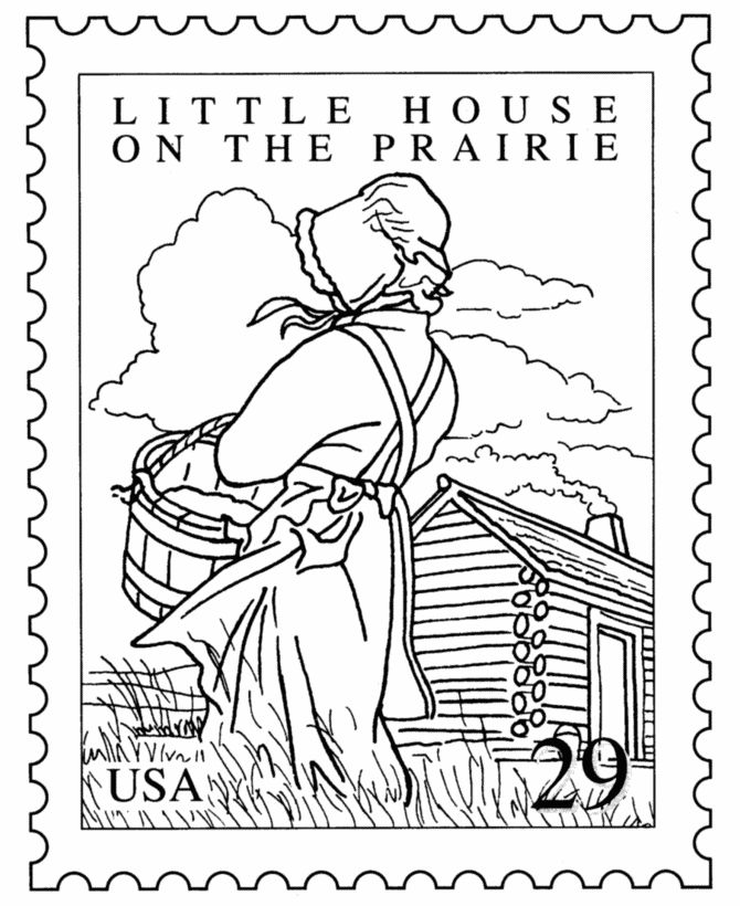 Little House on the Prairie -- coloring page to stitchery?!!  :)