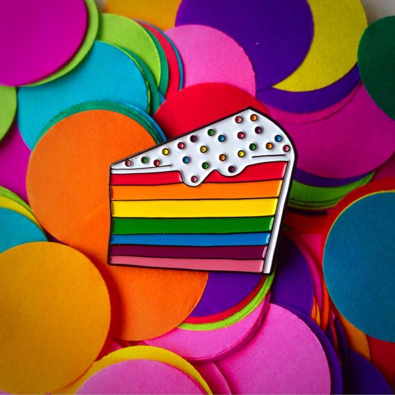 Rainbow cake enamel pin