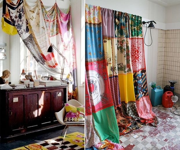 I have plenty of scarves without a purpose in life. They would be stunning hanging in front of the french doors into our bedroom- privacy with a pop of color!