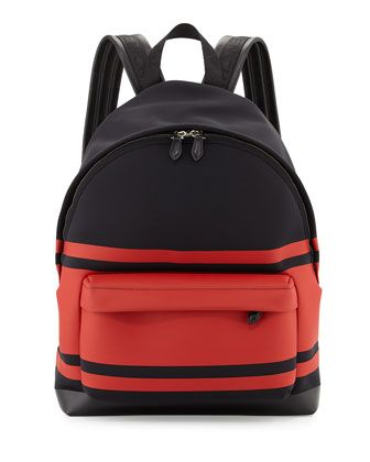 Striped Neoprene Backpack, Black/Red by Givenchy at Neiman Marcus.