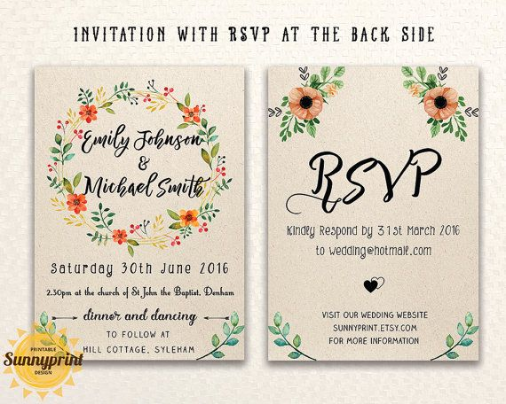 Printable wedding invitation template Wedding by Sunnyprint