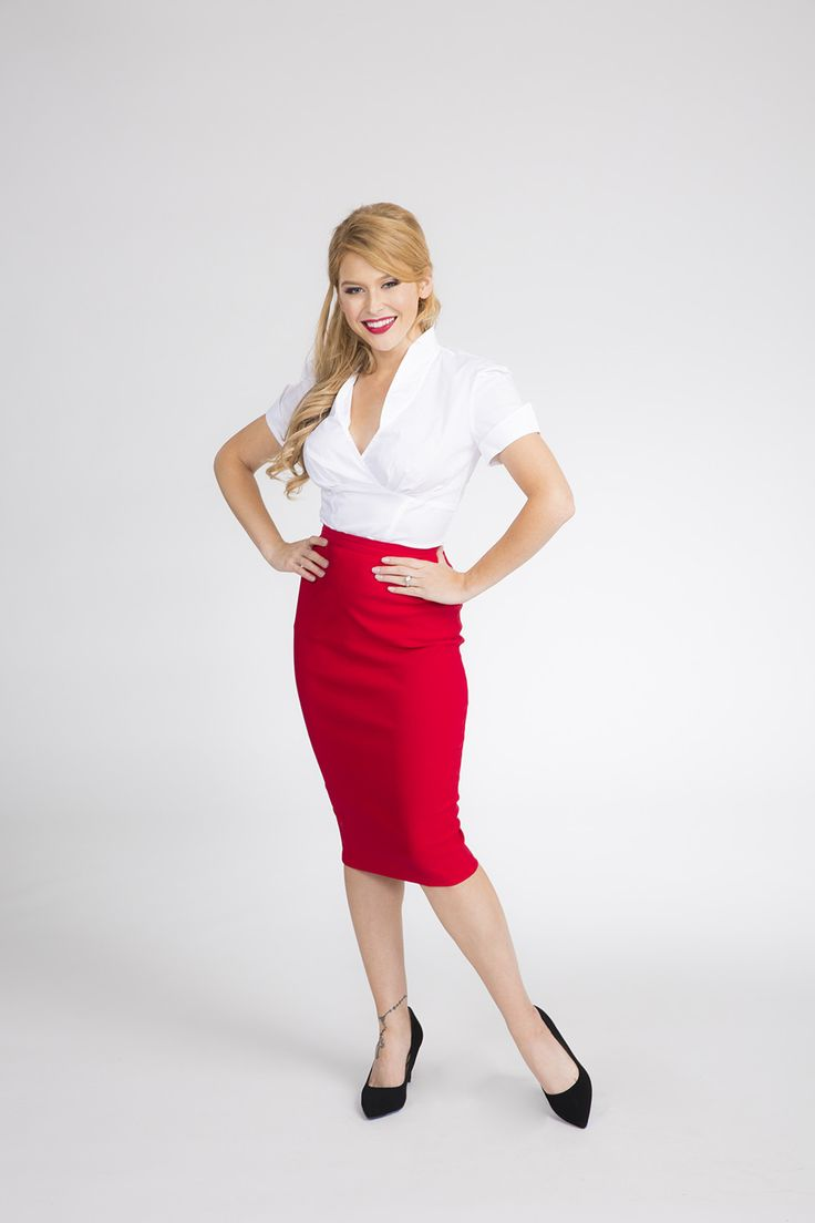 Retro Pencil Skirt in Red