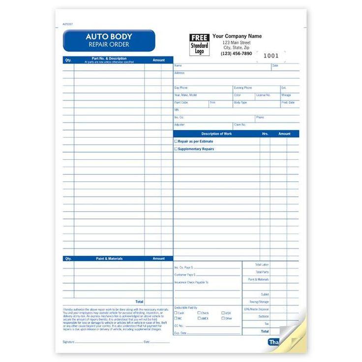 Auto body repair invoice Automotive Repair Shops Pinterest - estimate request form