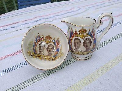 Royal Albert Loyalty 2pc Sugar & Creamer Set 1939 visit of George VI