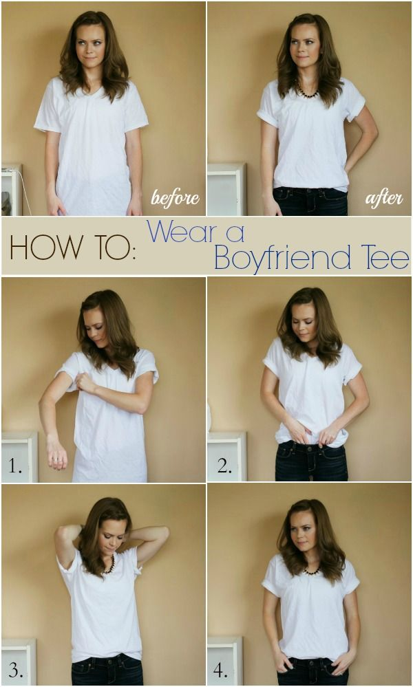 How to Wear a Boyfriend Tee ~ no sew.  I LOVE this girl's blog!