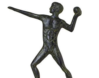 Ancient Olympic Games Sphere Thrower Statue Bronze Sculpture Greek Mythology Hand-Made Bronze Art Olympic Athlete Olympiad Collectible Art