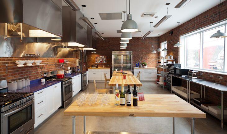 Teaching Kitchen Design dough market, teaching kitchen, brick, stainless steel, wood & a