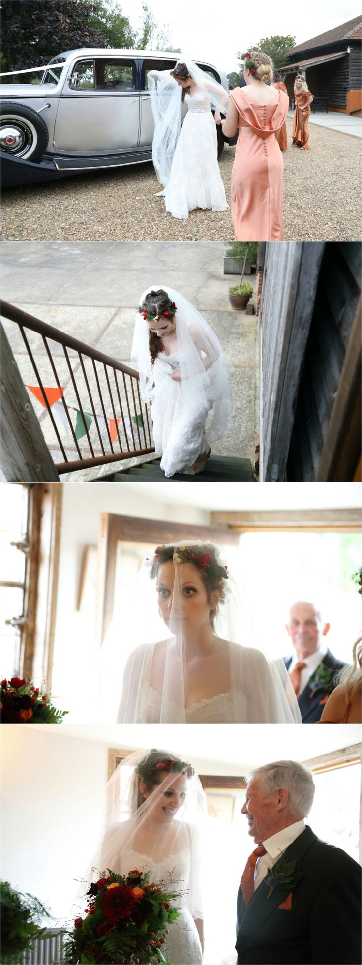 bride with flower crown at Moreves barn wedding, whimsical autumn wedding with copper tones.