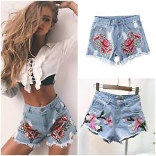 Women Floral Embroidery  High Waist Denim Jeans Beach Hot Shorts Pant Lot