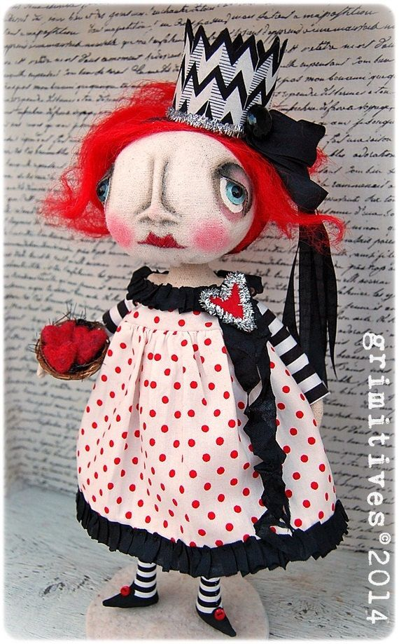 Primitive Original Art Doll - Valentine Queen of Hearts by doll artist Kaf Grimm of GRIMITIVES