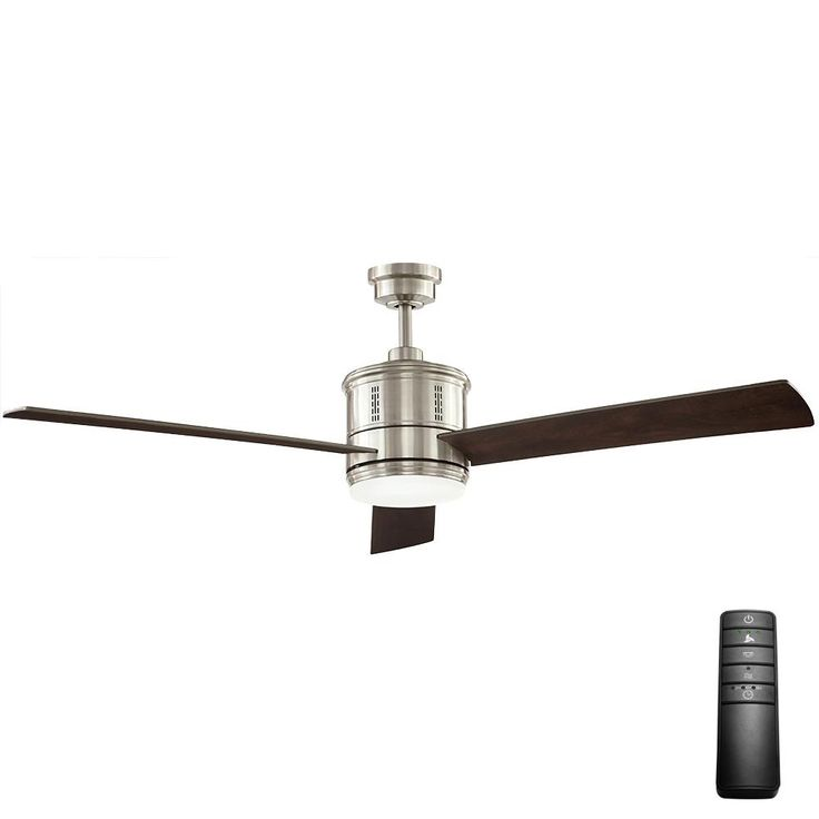 Home decorators collection gamali 60 in led indoor brushed nickel ceiling fan with light kit and remote control