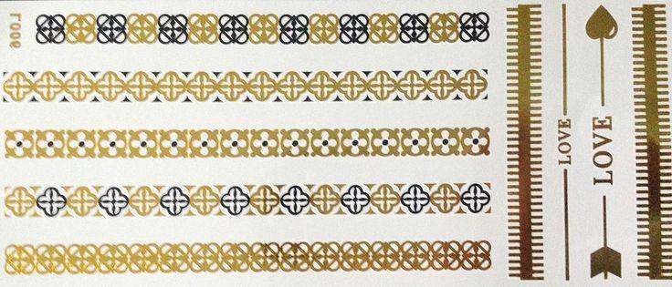 Einmal Temporary Flash Klebe Tattoo Gold Schwarz 9teile Armband Kette Fuß Body