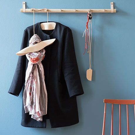 Large Coat Rack - Oak Wood, Leather - by By Wirth, Danish Design #MONOQI