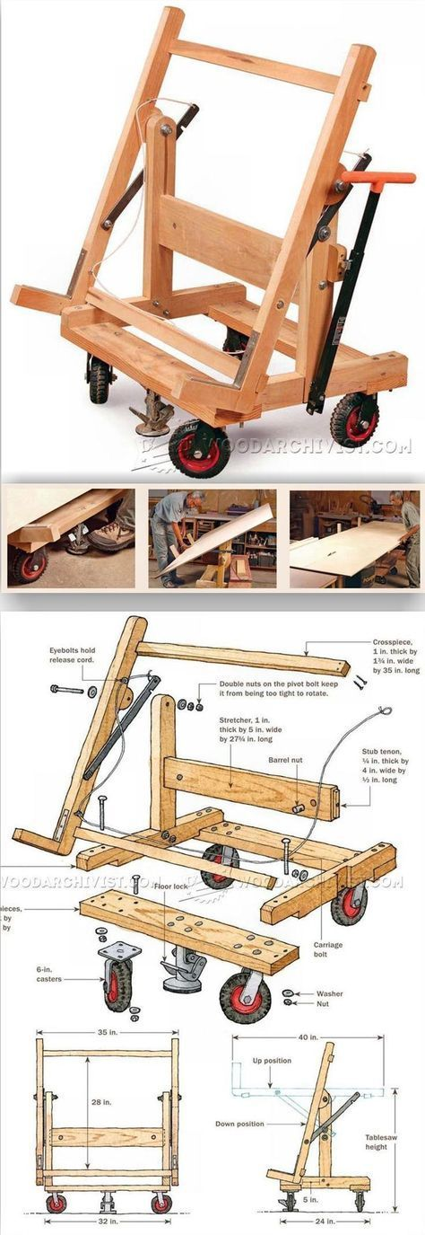 Pivoting Plywood Cart Plans - Workshop Solutions Projects, Tips and Tricks | WoodArchivist.com (Try Tip)