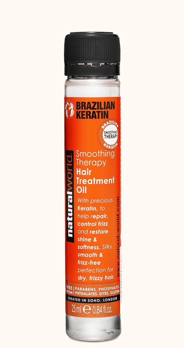 BRAZILIAN KERATIN Smoothing . Therapy Hair Treatment Oil 25ml. By Natural World, Soho, London.