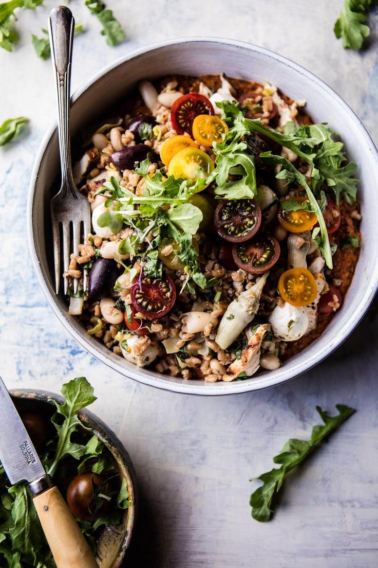 Mediterranean Chicken and Farro Salad   halfbakedharvest.com @hbharvest