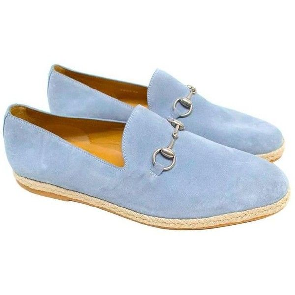 Gucci Light Blue Suede Loafers ($185) ❤ liked on Polyvore featuring shoes, loafers, gucci footwear, loafers moccasins, suede shoes, gucci and woven loafers