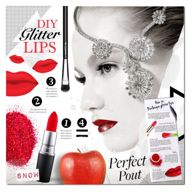 DIY Glitter Lips by justlovedesign on Polyvore featuring beauty, MAC Cosmetics, redlips, lips, snowwhite, glitterlips and diyglitterlips