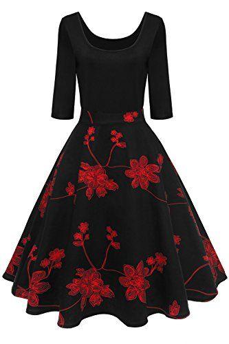 Stil: Audrey hepburn Kleid, Festkleider,Cocktailkleid Rockabilly Swing Kleid U Ausschnitt Kragen,Langarm, Knielang,geeignet für Frühling,Sommer,Herbst und Winter. Diese Schwingenkleid hat eine wirklich 360 weiten Rock,Invisible Reißverschluss, praktisch und wirkt sich nicht auf das Aussehen