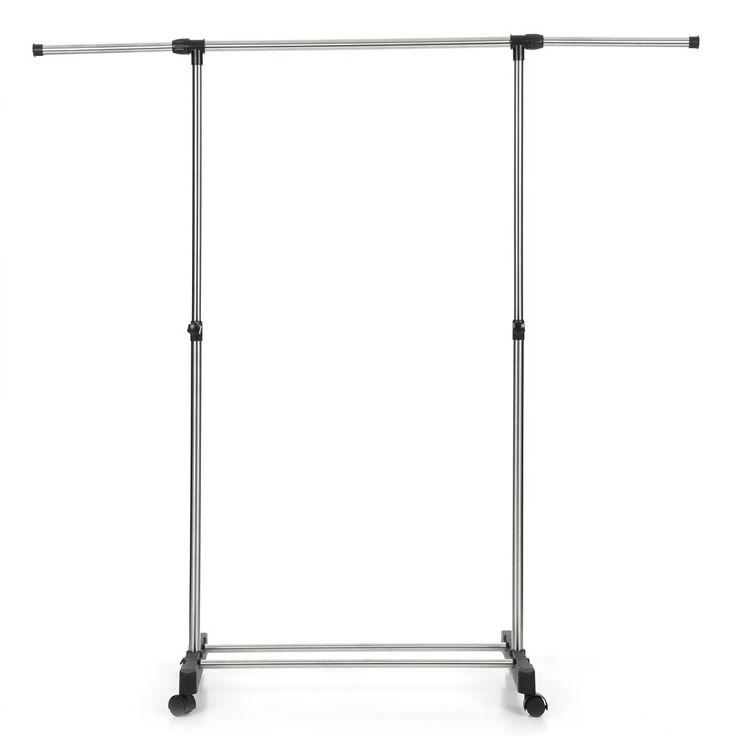 iKayaa Metal Height Adjustable Coat Clothes Garment Hanging - Tomtop.com