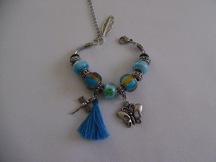 Bracelet charms/Chaîne serpent en acier inoxydable/Perles style italien bleu claire. : Bracelet par crea-039-martine