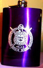 Omega Psi Phi Fraternity 8 OZ Purple Metal Flask: Laser Engraved Shield!