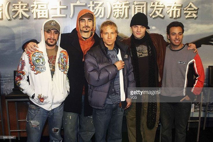 AJ McLean, Kevin Richardson, Brian Littrell, Nick Carter and Howie Dorough of US Pop band Backstreet Boys are interviewed during a promotional event for 2006 Backstreet Boys China Tour in Shanghai on January 18, 2006 in Shanghai, China.