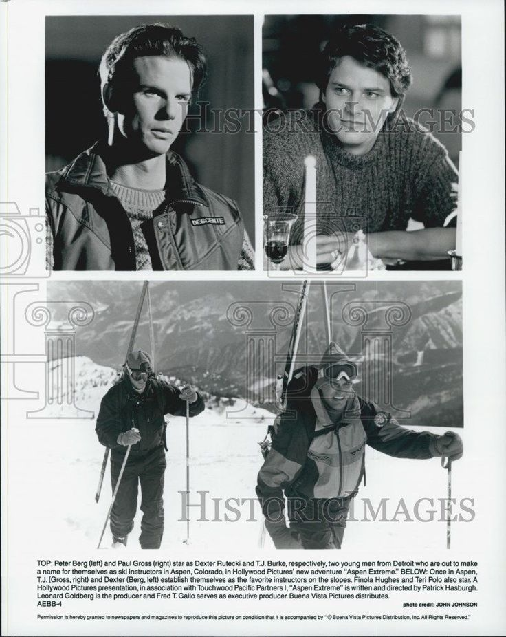 """1993 Press Photo Actors Peter Berg And Paul Gross Star In Film """"Aspen Extreme"""""""