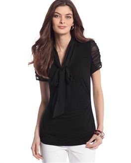 Ruched Chiffon-Tie Top: White House Black Market, Houses Black Marketing, Chiffon Tops, Ruched Chiffon, Ties Tops, Black Chiffon, Chiffon Ties, White Houses Black, Neck Ties