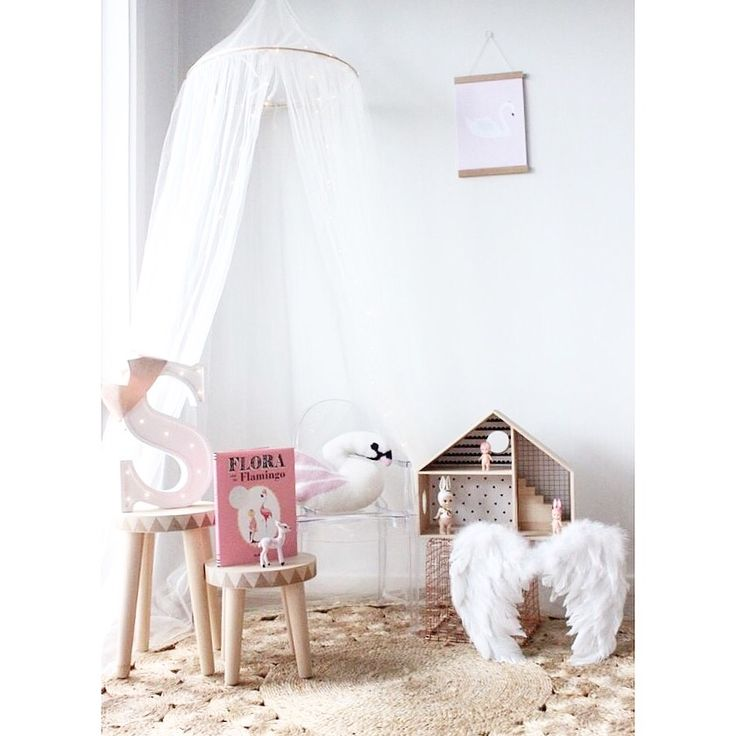 Canopy styled by #LittleSandCo #canopy #numero74 #tulle #girl #readingnook #kidsinteriors #nurserystyle #white #pink #neutral #swan #homelycreatures