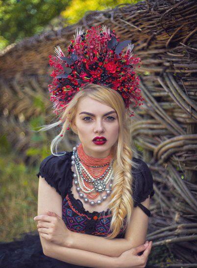 Ukrainian headwear Flower Headdress Flower by DeepInMyFlowerSoul