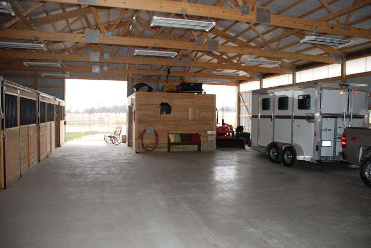 wide open barn layout. I love the idea of being able to store the trailers in the barn..