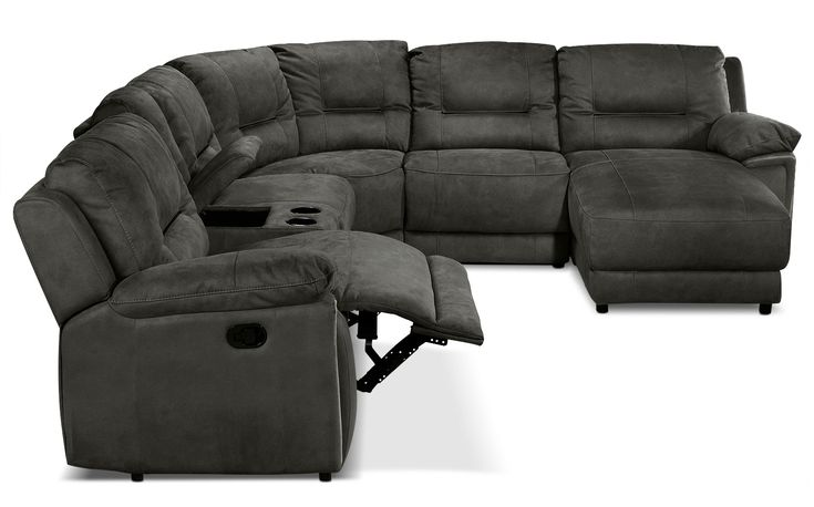 Comforts of Home. The easy-to-coordinate, deep grey colour of the Pasadena sectional offers a smooth, modern neutral that will feel right at home in your space. Upholstered in soft-as-suede microfibre and reinforced with foam and fibre for ultimate comfort, this sectional sofa boasts reclining action, a lounge-worthy chaise and a console that features storage space for downtime essentials and cupholders. The well-padded seating of the Pasadena is accented by designer stitching and channel…