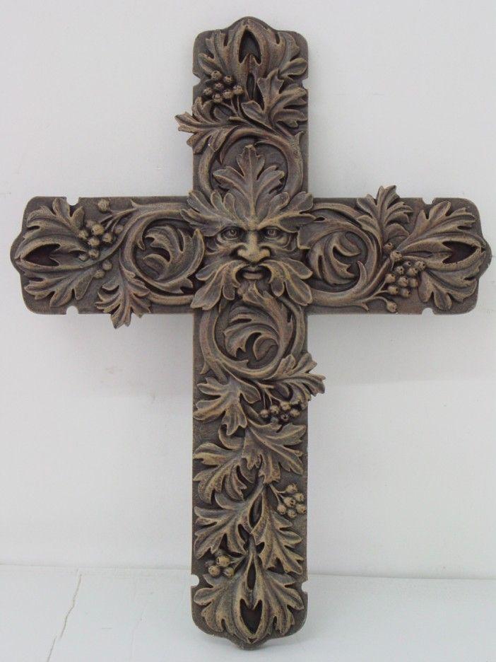Greenman Cross Wall Plaque Celtic