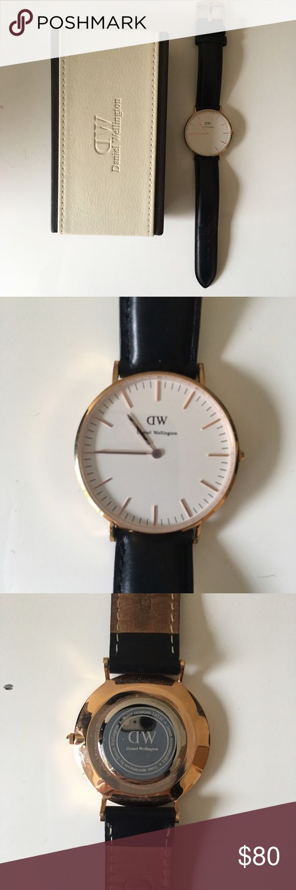Authentic Daniel Wellington Sheffield Watch Authentic Daniel Wellington Classic Sheffield Watch. In like new condition -Only worn a couple of times. Size: 36mm, strap width: 18mm. Black leather strap, eggshell white face with rose gold details. Daniel Wellington Accessories Watches