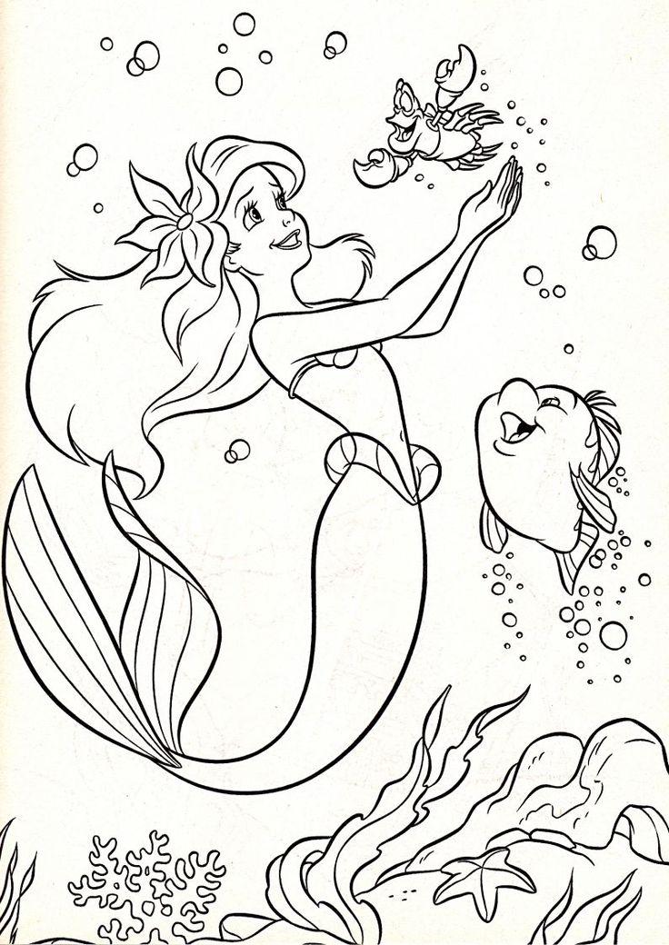 kolorowanka z syrenką Ariel, rybką Florkiem i krabem Sebastianem z bajki Disney Mała Syrenka nr 9