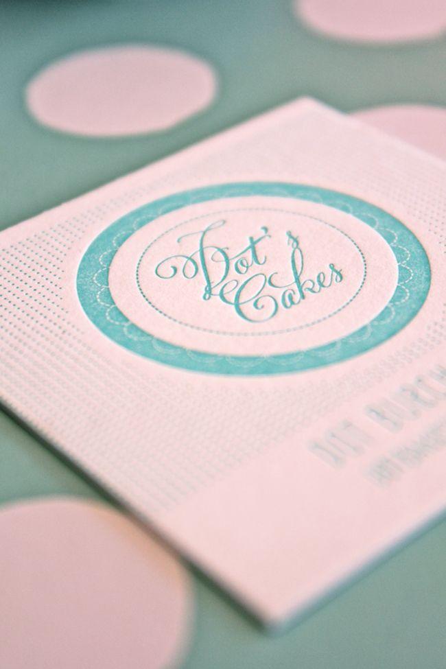 dot's cakes. logo + letterpress business card.