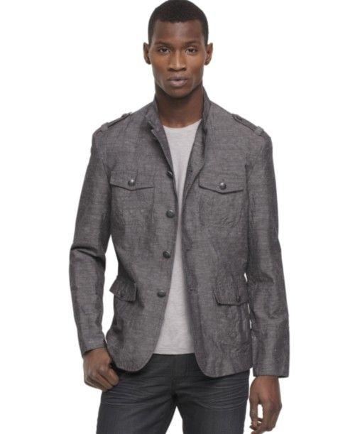 Kenneth Cole Reaction Jacket Mock Neck Military Blazer | Jacket ...