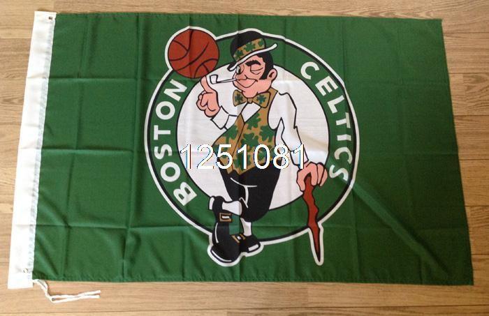 Boston Celtics Flag 3ft x 5ft Polyester NBA Boston Celtics Banner Flying Size No.4 144* 96cm QingQing Flag