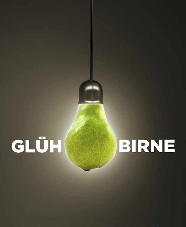 """Lightbulb in German is """"Glühbirne,"""" which translates to """"glow pear."""" 