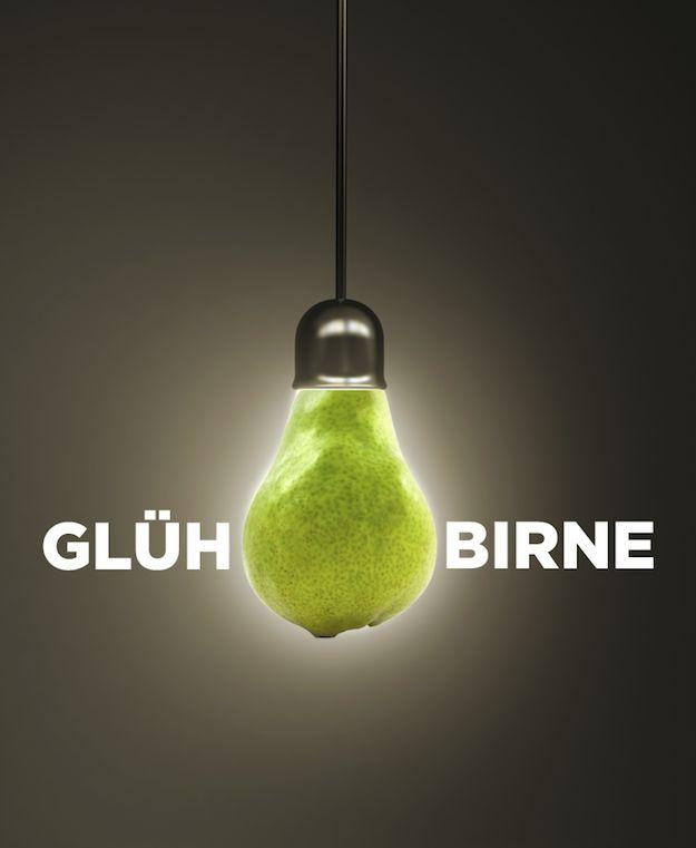 "Lightbulb in German is ""Glühbirne,"" which translates to ""glow pear."""