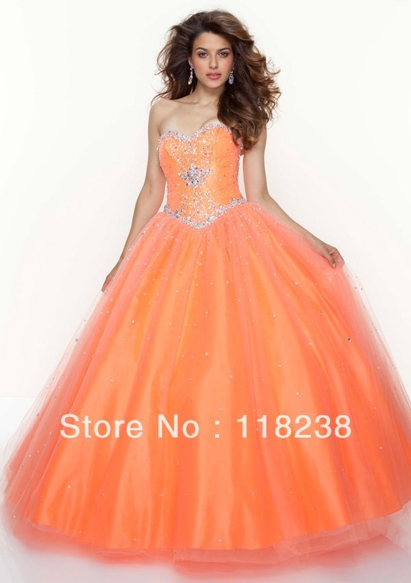 Orange Puffy Prom Dresses 4