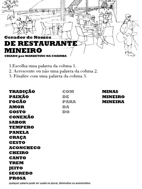 gerador de nome de restaurante mineiro