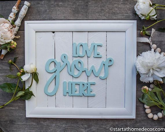 Finished Reclaimed Wood White and Teal Love Grows Here Sign | Typography Sign | Wood Cutout Sign | Start at Home Decor