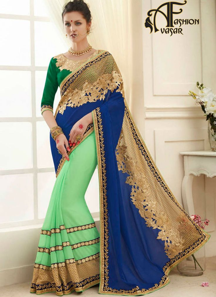 buy blue Georgette,Chiffon indian designer saree online – sarees shopping at low cost