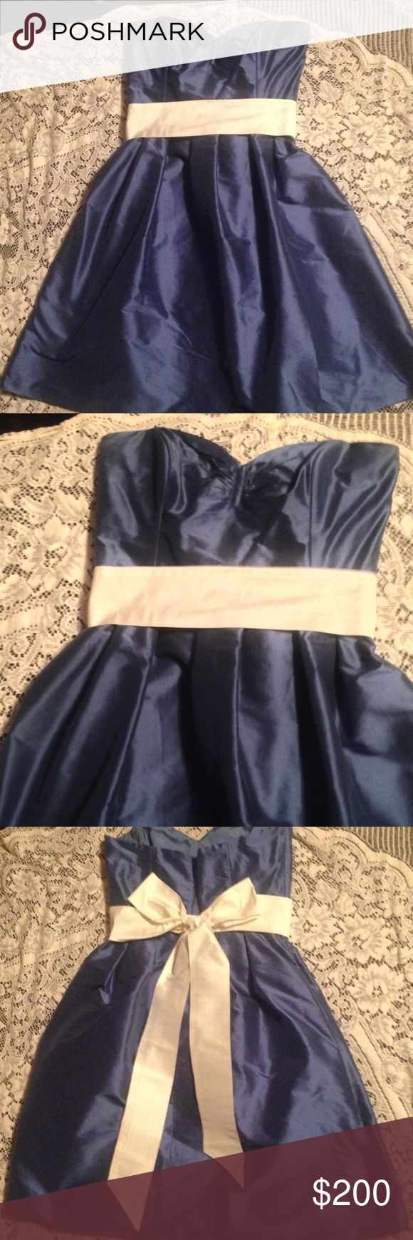Coren Moore Nolan Silk Shantung Dress Riveiera A break taking bridesmaid dress by Coren Moore New York. Worn only in a wedding. Flat waist- 14 3/4 inches, bust to hem of skirt- 31 inches. Lined, and has two sizable pockets! Coren Moore Dresses Strapless