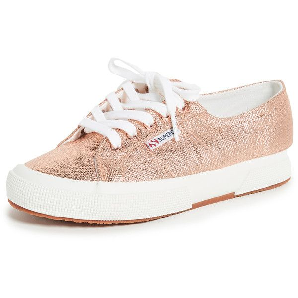 Superga 2750 Metallic Sneakers ($100) ❤ liked on Polyvore featuring shoes, sneakers, rose gold, superga shoes, rose gold glitter shoes, rose gold flat shoes, lace up sneakers and sparkly sneakers