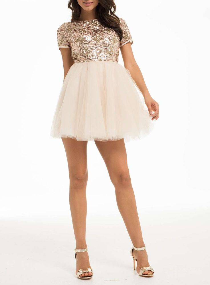 Womens *Chi Chi London Petite Gold Sequin Party Dress- Gold