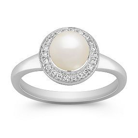 6.5mm Cultured Freshwater Pearl and Diamond Ring    Kind of feeling the pearl engagement ring idea.