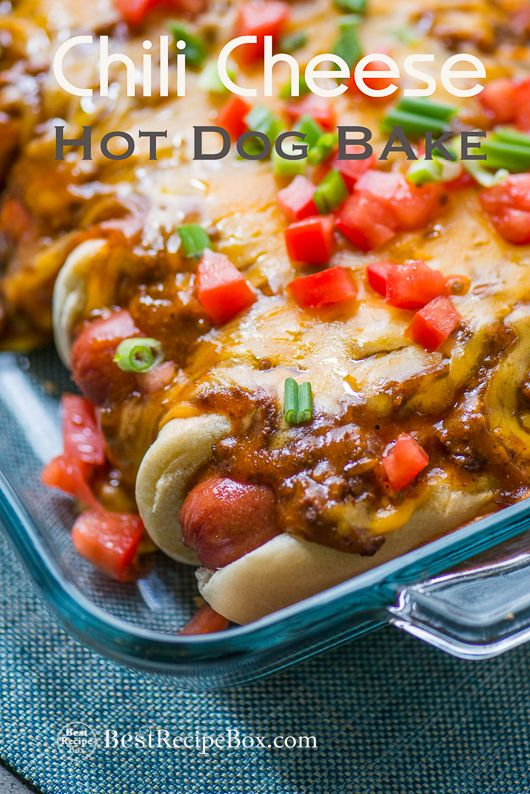 Easy game day super bowl appetizer with chili cheese hot dogs. Quick chili cheese hot dog bake is like a cheesy hog dog casserole baked in the oven for kids